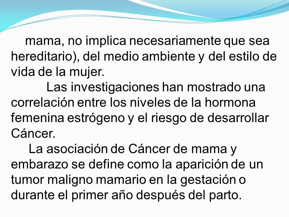 mama, no implica necesariamente que sea hereditario), del medio ambiente y del estilo de vida de la mujer. Las investigaciones han mostrado una correl