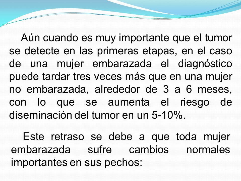 Aún cuando es muy importante que el tumor se detecte en las primeras etapas, en el caso de una mujer embarazada el diagnóstico puede tardar tres veces