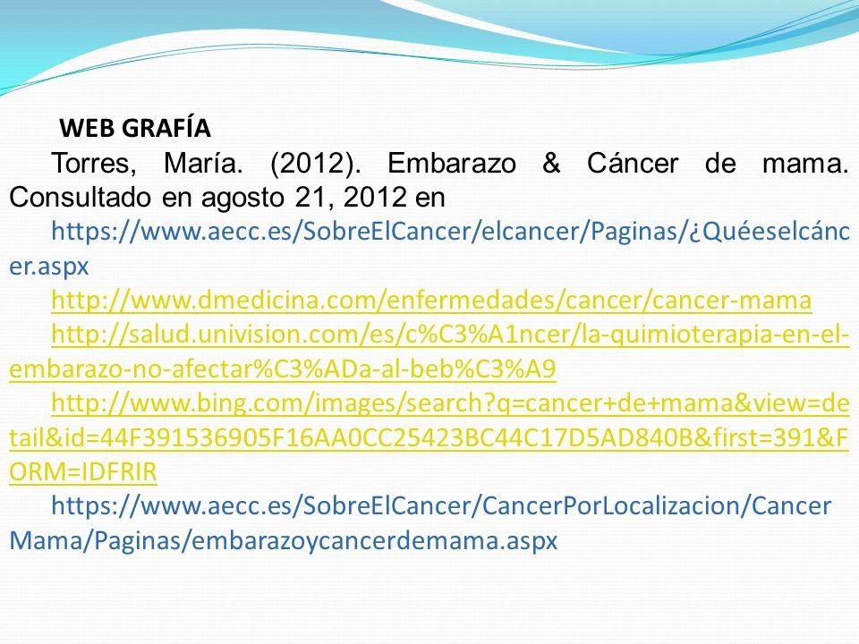 WEB GRAFÍA Torres, María. (2012). Embarazo & Cáncer de mama. Consultado en agosto 21, 2012 en https://www.aecc.es/SobreElCancer/elcancer/Paginas/¿Quée