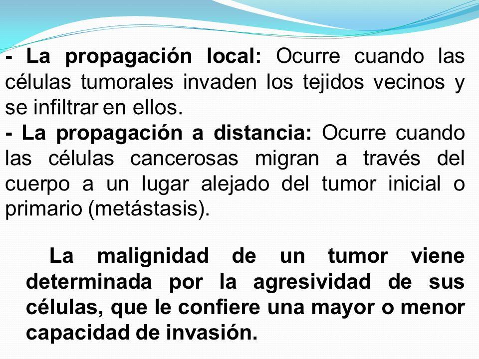 - La propagación local: Ocurre cuando las células tumorales invaden los tejidos vecinos y se infiltrar en ellos. - La propagación a distancia: Ocurre