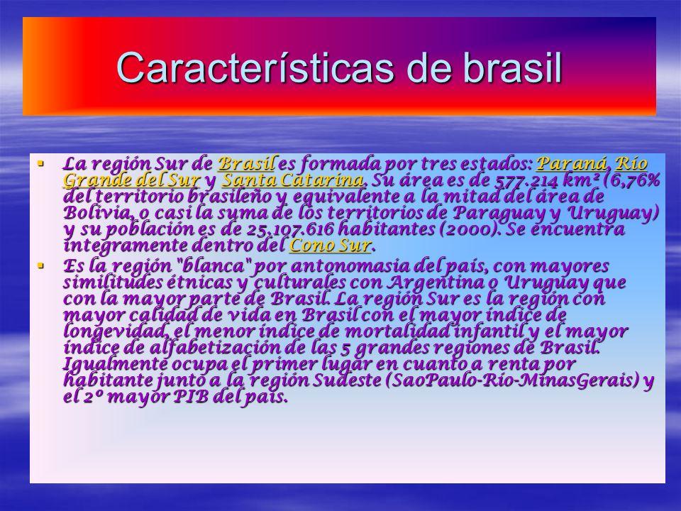 Características de brasil La región Sur de Brasil es formada por tres estados: Paraná, Río Grande del Sur y Santa Catarina. Su área es de 577.214 km²