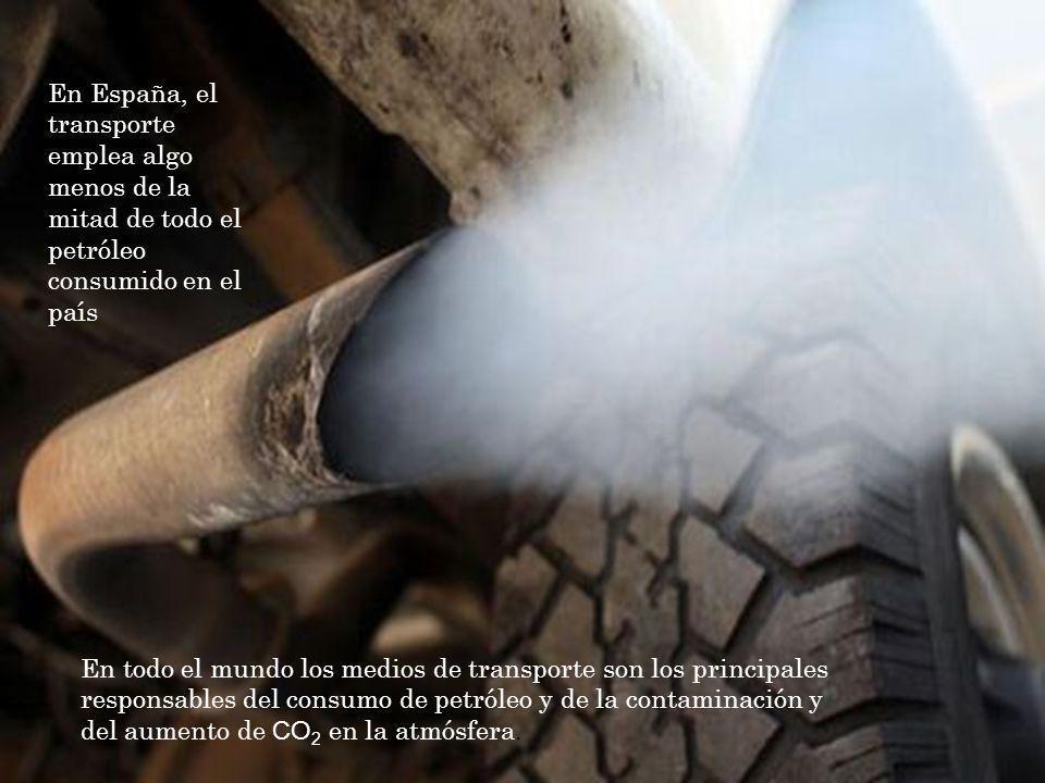 En todo el mundo los medios de transporte son los principales responsables del consumo de petróleo y de la contaminación y del aumento de CO 2 en la atmósfera.