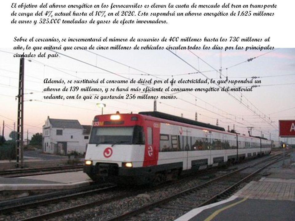 El objetivo del ahorro energético en los ferrocarriles es elevar la cuota de mercado del tren en transporte de carga del 4% actual hasta el 10% en el 2020.