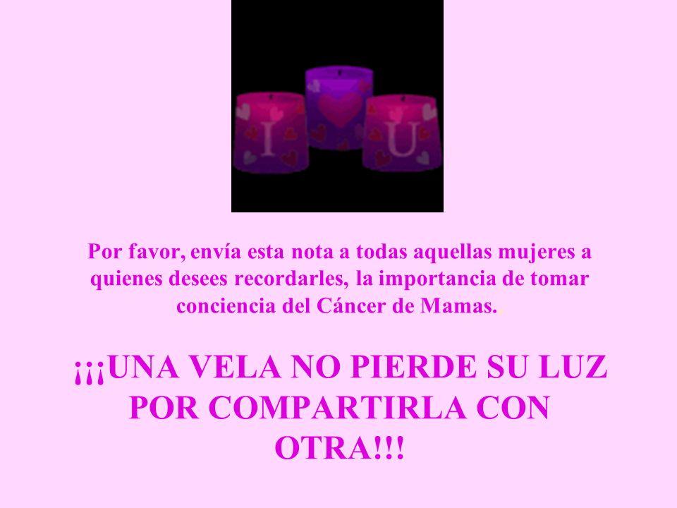 Incentiva a las mujeres que quieres a practicarse auto- exámenes regulares y a tomarse una mamografía al año.