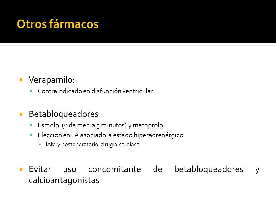 Verapamilo: Contraindicado en disfunción ventricular Betabloqueadores Esmolol (vida media 9 minutos) y metoprolol Elección en FA asociado a estado hip