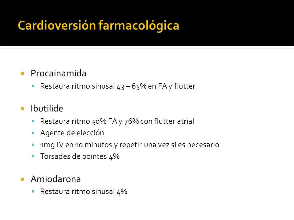 Procainamida Restaura ritmo sinusal 43 – 65% en FA y flutter Ibutilide Restaura ritmo 50% FA y 76% con flutter atrial Agente de elección 1mg IV en 10