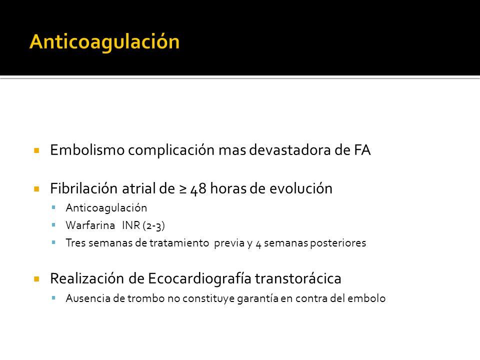 Embolismo complicación mas devastadora de FA Fibrilación atrial de 48 horas de evolución Anticoagulación Warfarina INR (2-3) Tres semanas de tratamien