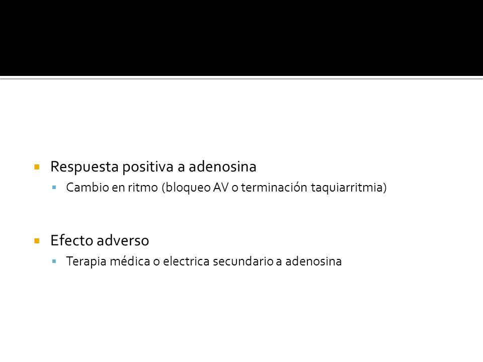 Respuesta positiva a adenosina Cambio en ritmo (bloqueo AV o terminación taquiarritmia) Efecto adverso Terapia médica o electrica secundario a adenosi