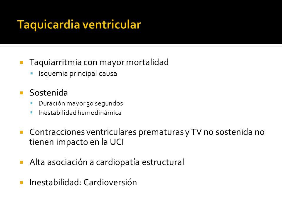 Taquiarritmia con mayor mortalidad Isquemia principal causa Sostenida Duración mayor 30 segundos Inestabilidad hemodinámica Contracciones ventriculare