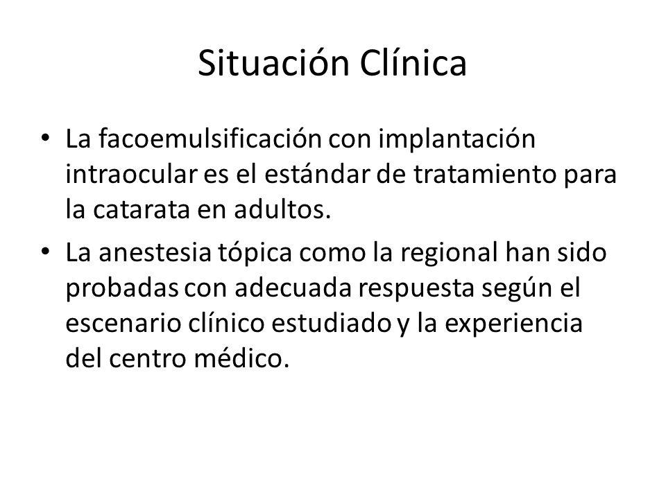Situación Clínica La facoemulsificación con implantación intraocular es el estándar de tratamiento para la catarata en adultos. La anestesia tópica co