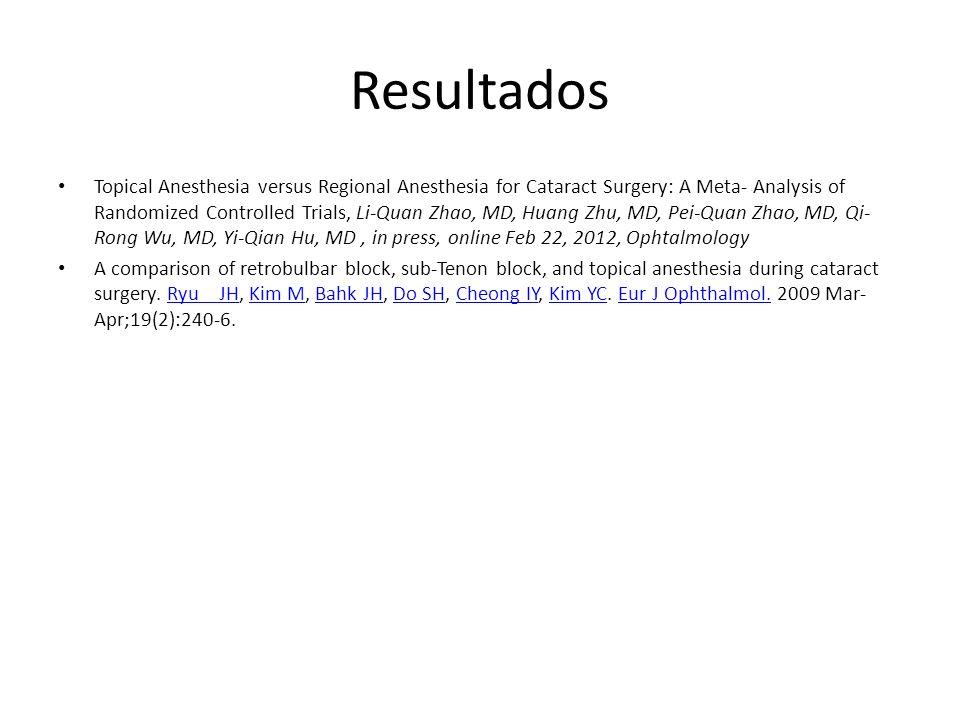 Resultados Topical Anesthesia versus Regional Anesthesia for Cataract Surgery: A Meta- Analysis of Randomized Controlled Trials, Li-Quan Zhao, MD, Hua