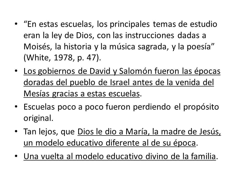 En estas escuelas, los principales temas de estudio eran la ley de Dios, con las instrucciones dadas a Moisés, la historia y la música sagrada, y la p