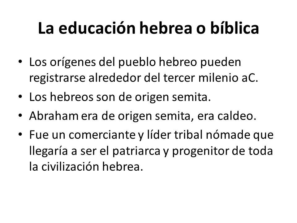 La educación hebrea o bíblica Los orígenes del pueblo hebreo pueden registrarse alrededor del tercer milenio aC. Los hebreos son de origen semita. Abr