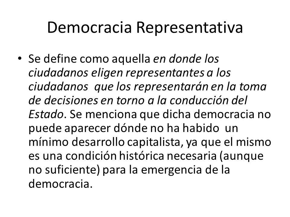 Democracia Representativa Se define como aquella en donde los ciudadanos eligen representantes a los ciudadanos que los representarán en la toma de decisiones en torno a la conducción del Estado.