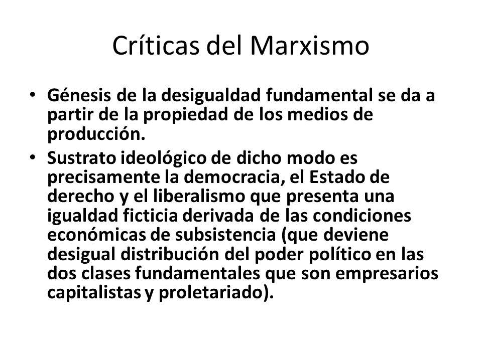 Críticas del Marxismo Génesis de la desigualdad fundamental se da a partir de la propiedad de los medios de producción.