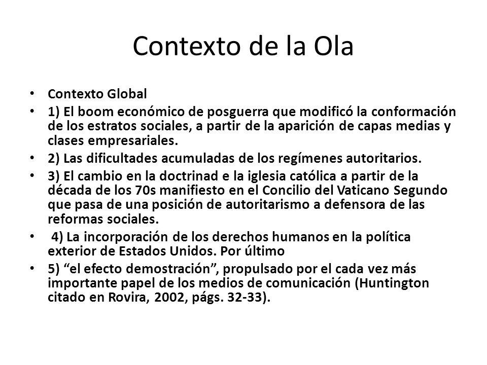 Contexto de la Ola Contexto Global 1) El boom económico de posguerra que modificó la conformación de los estratos sociales, a partir de la aparición de capas medias y clases empresariales.