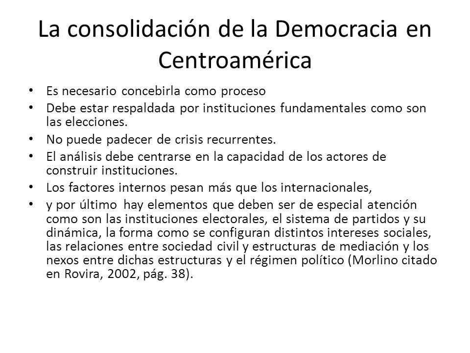 La consolidación de la Democracia en Centroamérica Es necesario concebirla como proceso Debe estar respaldada por instituciones fundamentales como son las elecciones.
