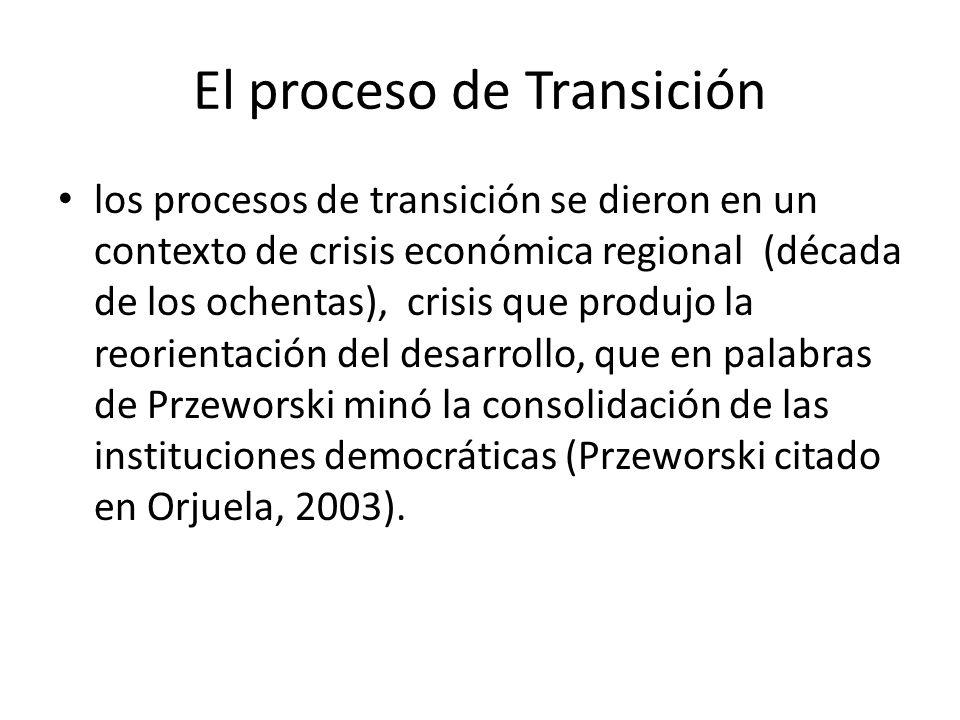 El proceso de Transición los procesos de transición se dieron en un contexto de crisis económica regional (década de los ochentas), crisis que produjo la reorientación del desarrollo, que en palabras de Przeworski minó la consolidación de las instituciones democráticas (Przeworski citado en Orjuela, 2003).