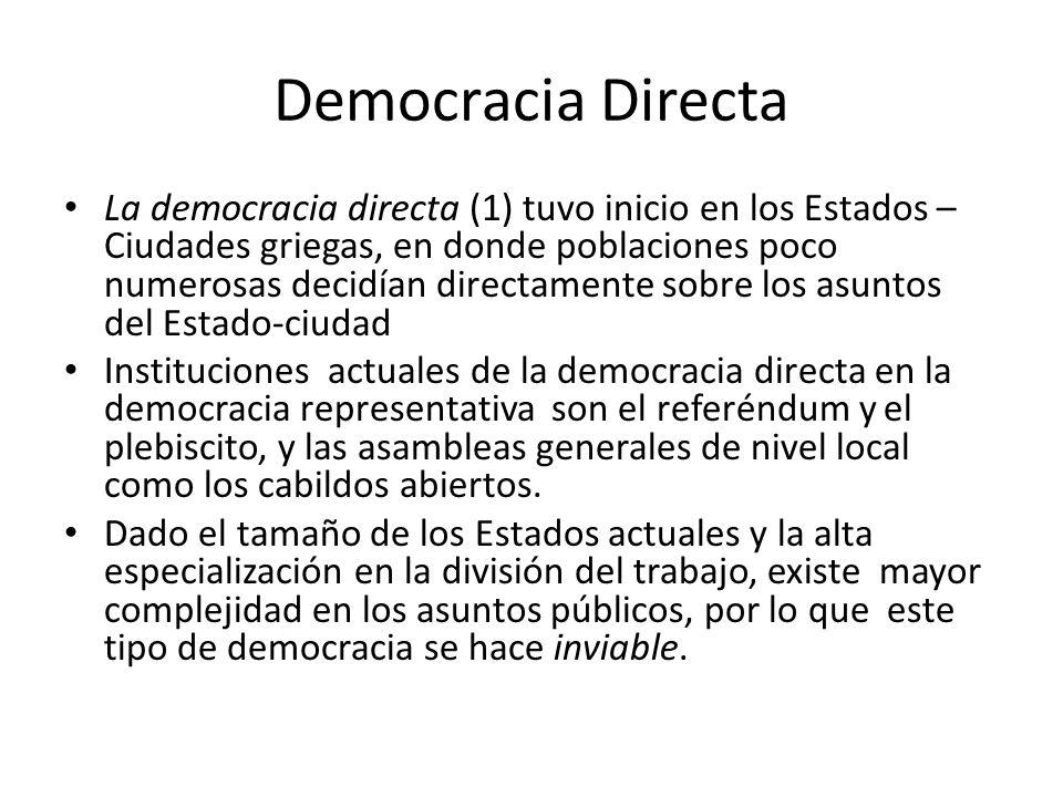 Democracia Directa La democracia directa (1) tuvo inicio en los Estados – Ciudades griegas, en donde poblaciones poco numerosas decidían directamente sobre los asuntos del Estado-ciudad Instituciones actuales de la democracia directa en la democracia representativa son el referéndum y el plebiscito, y las asambleas generales de nivel local como los cabildos abiertos.