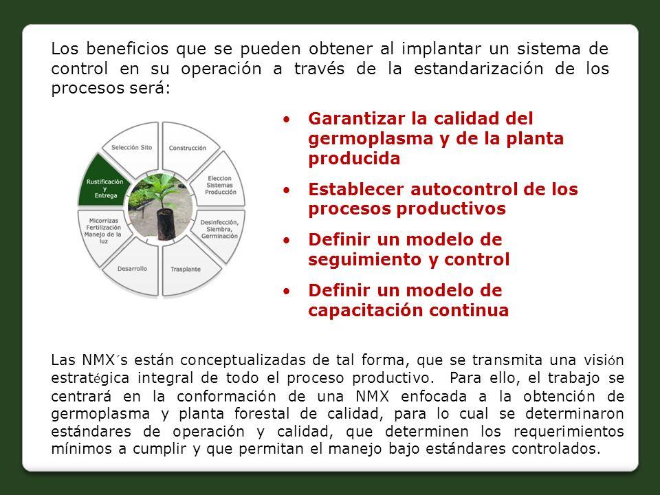Los beneficios que se pueden obtener al implantar un sistema de control en su operación a través de la estandarización de los procesos será: Garantiza