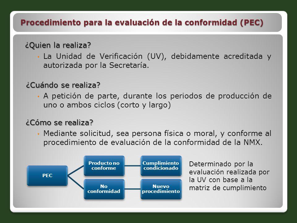 Procedimiento para la evaluación de la conformidad (PEC) ¿Quien la realiza? La Unidad de Verificación (UV), debidamente acreditada y autorizada por la