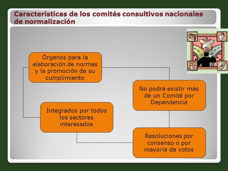 Características de los comités consultivos nacionales de normalización Órganos para la elaboración de normas y la promoción de su cumplimiento No podr