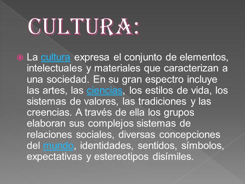 La cultura expresa el conjunto de elementos, intelectuales y materiales que caracterizan a una sociedad. En su gran espectro incluye las artes, las ci