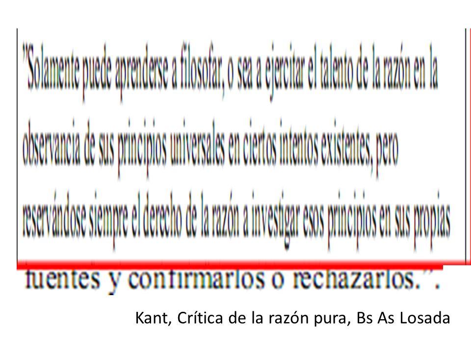 Kant, Crítica de la razón pura, Bs As Losada