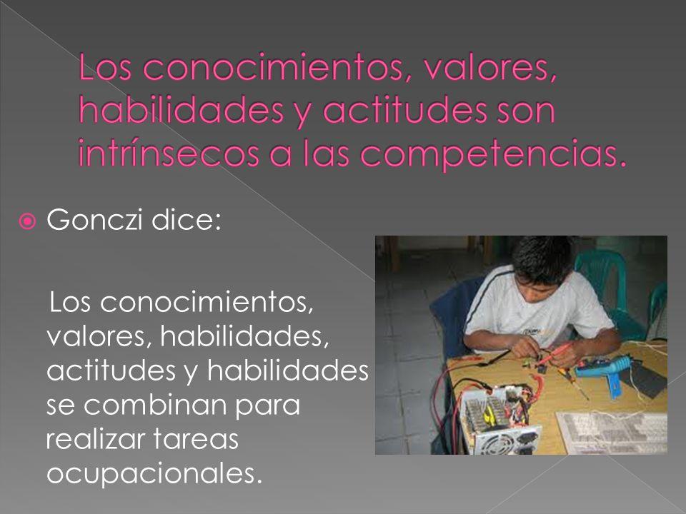 Gonczi dice: Los conocimientos, valores, habilidades, actitudes y habilidades se combinan para realizar tareas ocupacionales.