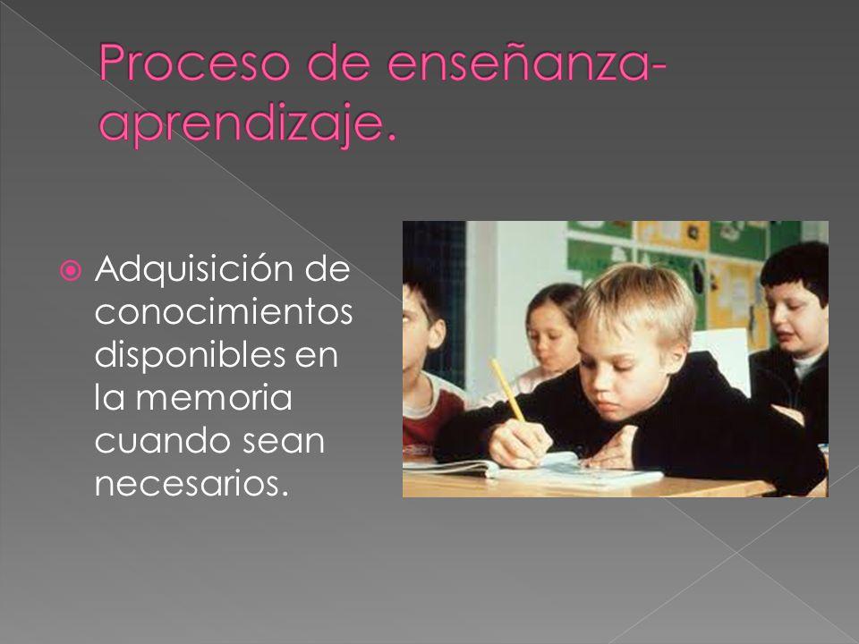 Adquisición de conocimientos disponibles en la memoria cuando sean necesarios.
