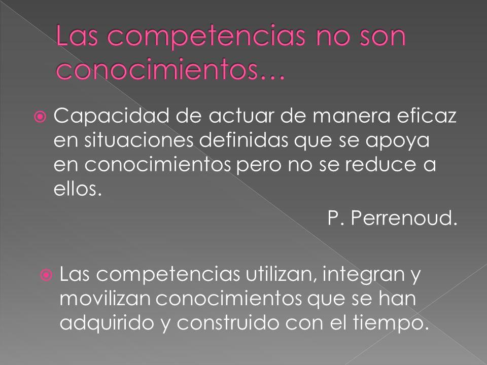 Capacidad de actuar de manera eficaz en situaciones definidas que se apoya en conocimientos pero no se reduce a ellos. P. Perrenoud. Las competencias