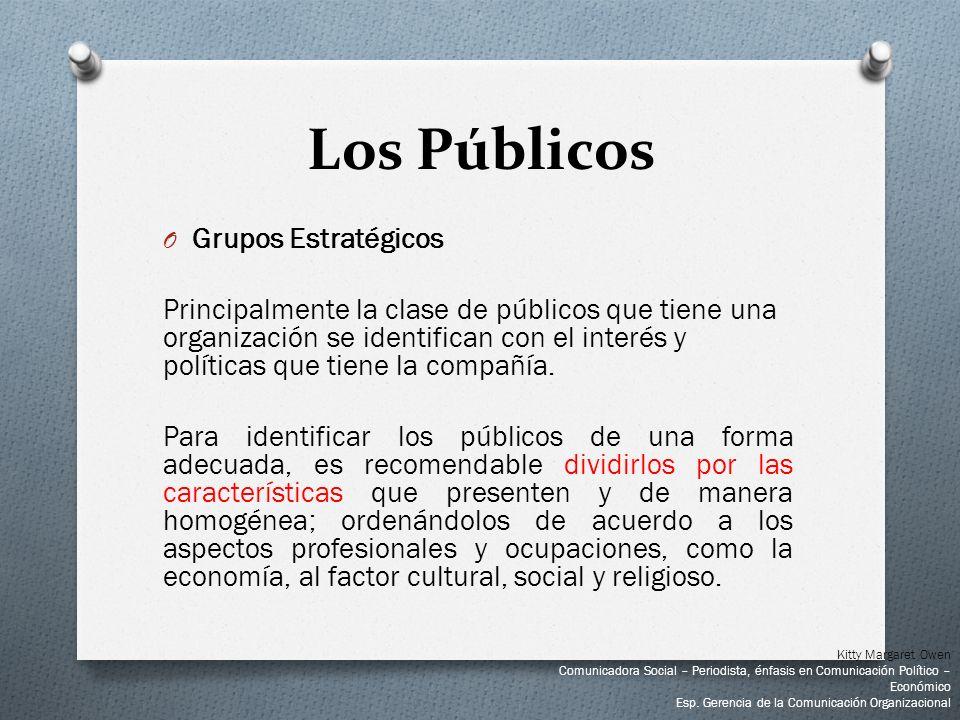 O Grupos Estratégicos Principalmente la clase de públicos que tiene una organización se identifican con el interés y políticas que tiene la compañía.