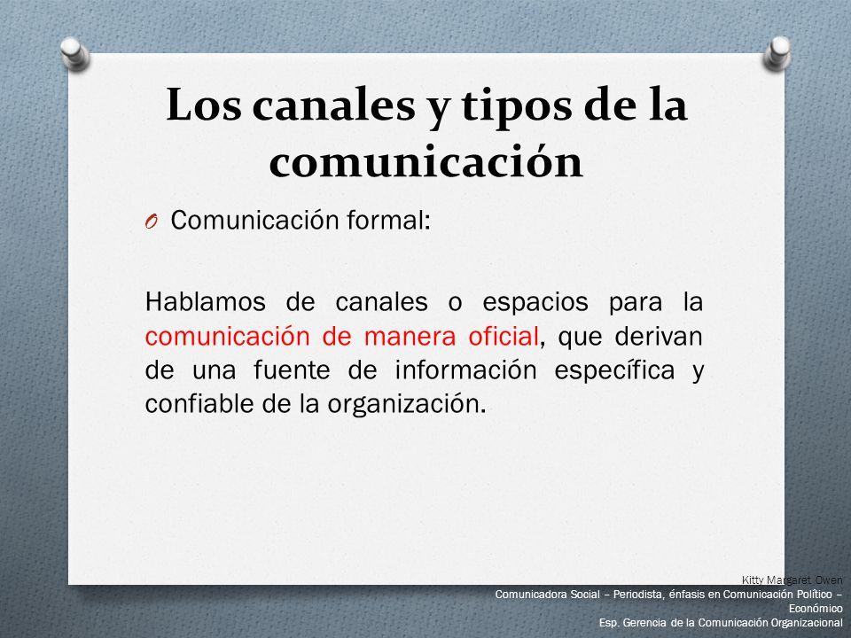 O Comunicación formal: Hablamos de canales o espacios para la comunicación de manera oficial, que derivan de una fuente de información específica y co