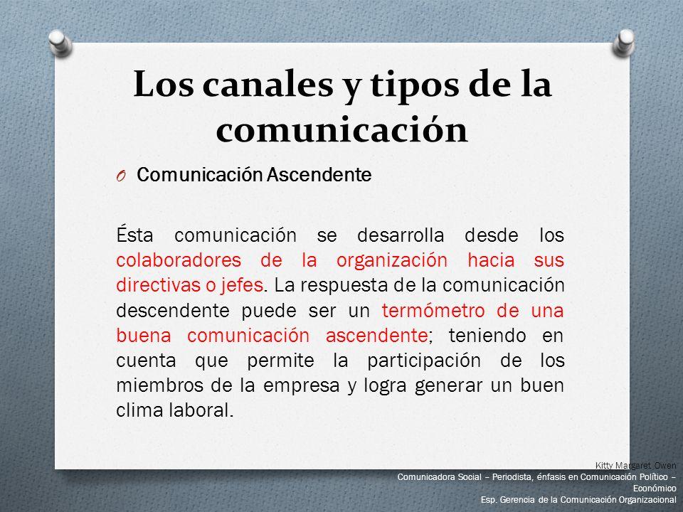O Comunicación Ascendente Ésta comunicación se desarrolla desde los colaboradores de la organización hacia sus directivas o jefes. La respuesta de la