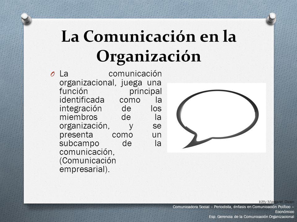 O La comunicación organizacional, juega una función principal identificada como la integración de los miembros de la organización, y se presenta como