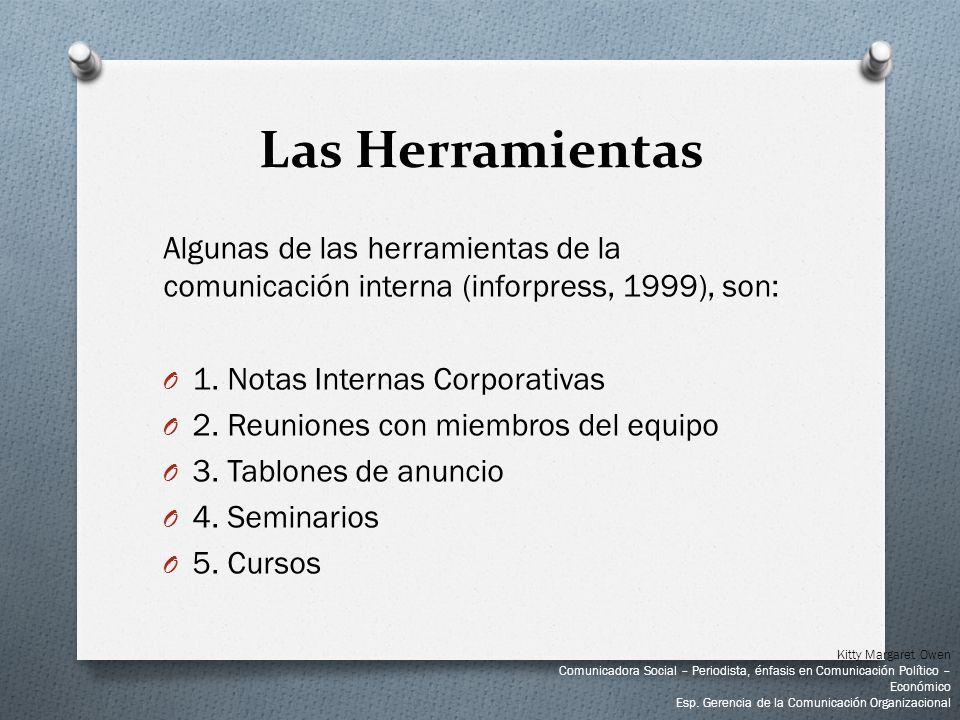 Algunas de las herramientas de la comunicación interna (inforpress, 1999), son: O 1. Notas Internas Corporativas O 2. Reuniones con miembros del equip