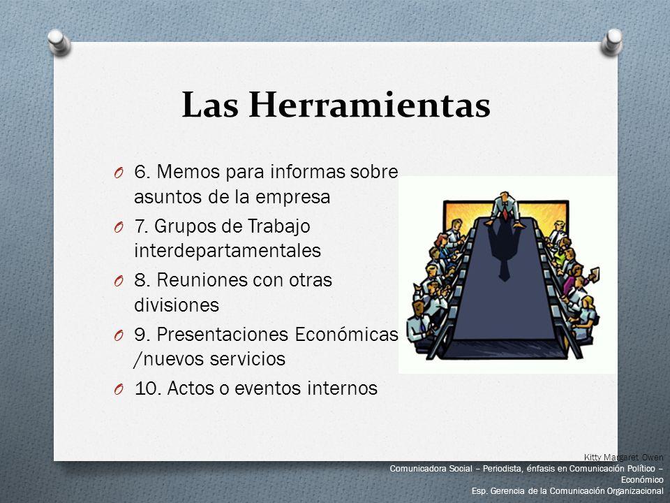 Las Herramientas O 6. Memos para informas sobre asuntos de la empresa O 7. Grupos de Trabajo interdepartamentales O 8. Reuniones con otras divisiones