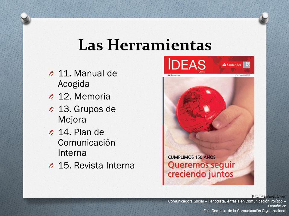 O 11. Manual de Acogida O 12. Memoria O 13. Grupos de Mejora O 14. Plan de Comunicación Interna O 15. Revista Interna Las Herramientas Kitty Margaret