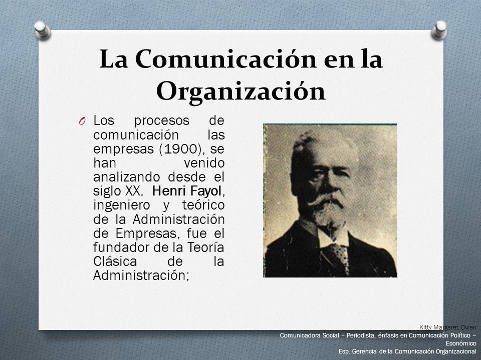 O Los procesos de comunicación las empresas (1900), se han venido analizando desde el siglo XX. Henri Fayol, ingeniero y teórico de la Administración