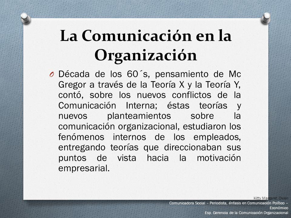 O Década de los 60´s, pensamiento de Mc Gregor a través de la Teoría X y la Teoría Y, contó, sobre los nuevos conflictos de la Comunicación Interna; é