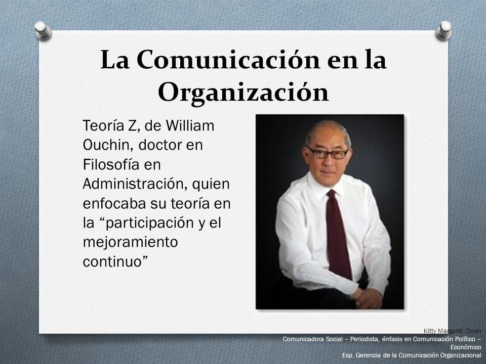 Teoría Z, de William Ouchin, doctor en Filosofía en Administración, quien enfocaba su teoría en la participación y el mejoramiento continuo La Comunic