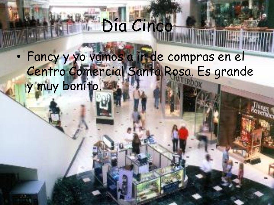 Día Cinco Fancy y yo vamos a ir de compras en el Centro Comercial Santa Rosa. Es grande y muy bonito.