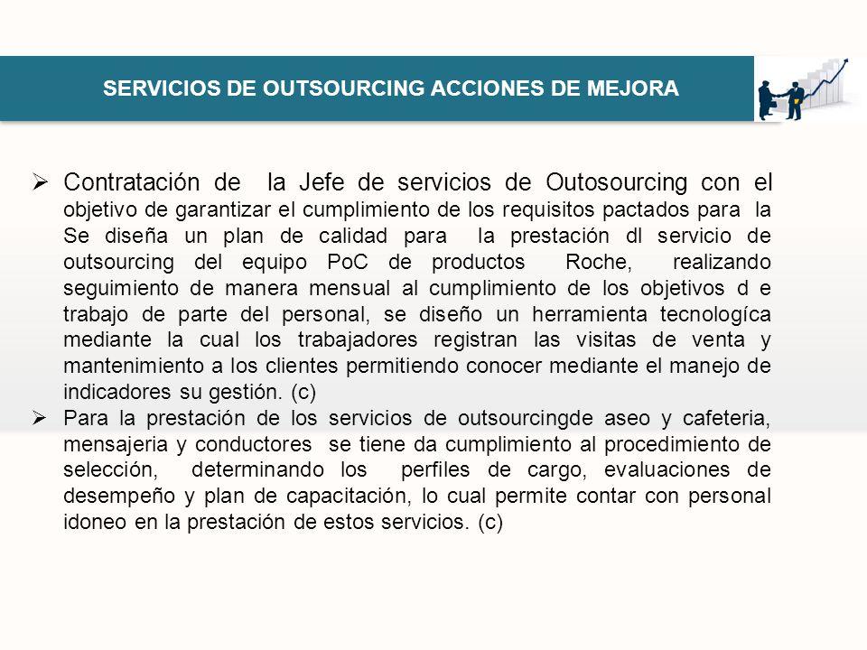 SERVICIOS DE OUTSOURCING ACCIONES DE MEJORA Contratación de la Jefe de servicios de Outosourcing con el objetivo de garantizar el cumplimiento de los