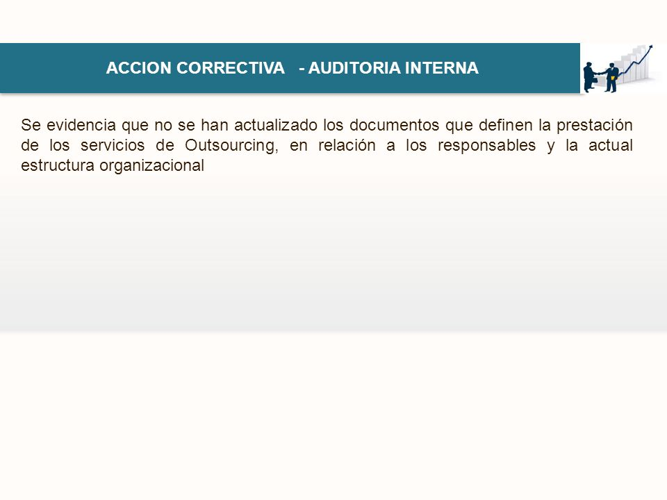ACCION CORRECTIVA - AUDITORIA INTERNA Se evidencia que no se han actualizado los documentos que definen la prestación de los servicios de Outsourcing,