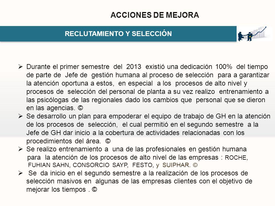 RECLUTAMIENTO Y SELECCIÓN ACCIONES DE MEJORA Durante el primer semestre del 2013 existió una dedicación 100% del tiempo de parte de Jefe de gestión hu