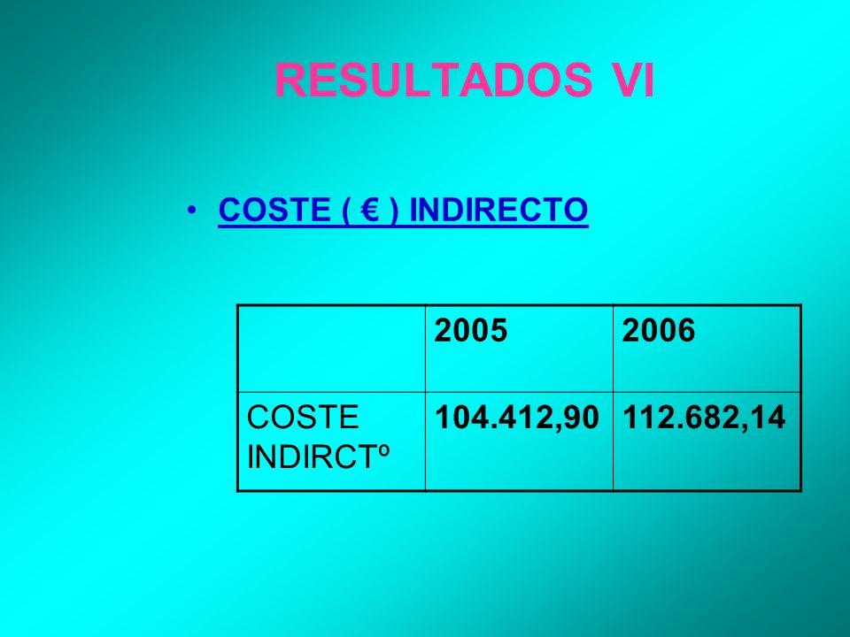 RESULTADOS VI COSTE ( ) INDIRECTO 20052006 COSTE INDIRCTº 104.412,90112.682,14