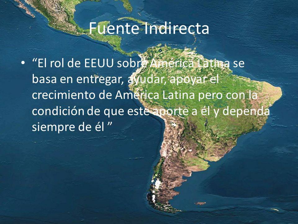 Fuente Indirecta El rol de EEUU sobre América Latina se basa en entregar, ayudar, apoyar el crecimiento de América Latina pero con la condición de que