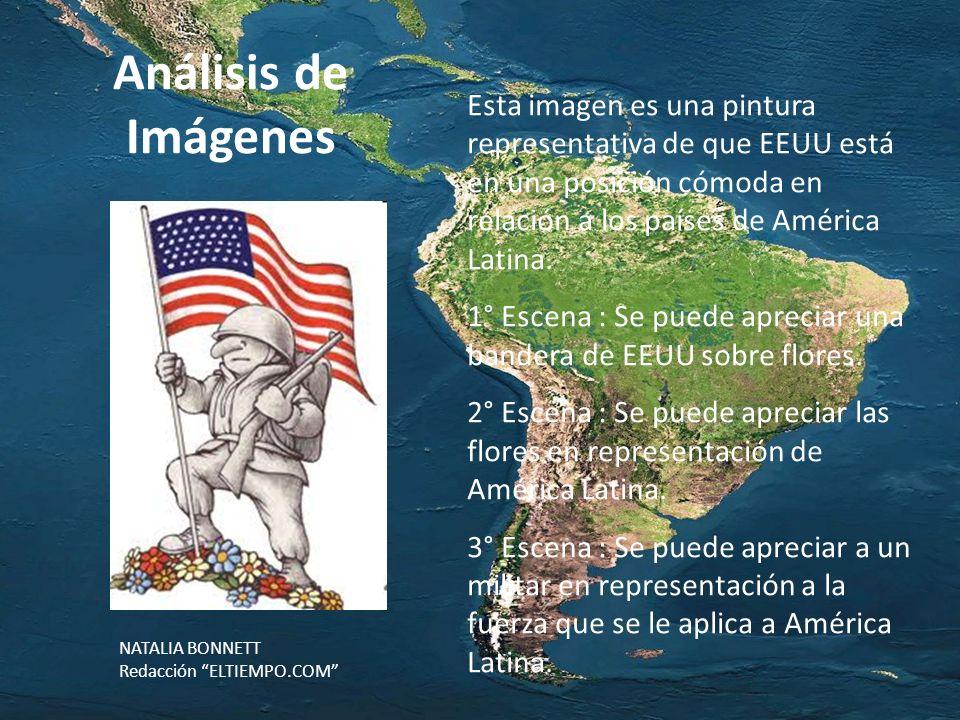 Análisis de Imágenes Esta imagen es una pintura representativa de que EEUU está en una posición cómoda en relación a los países de América Latina. 1°