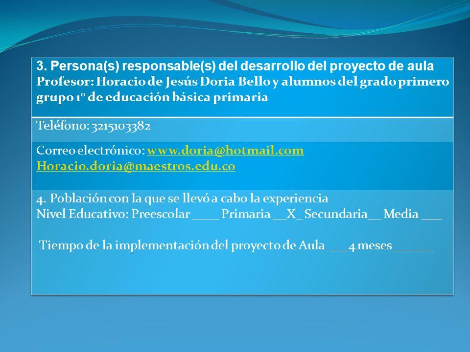 Grado (s) Primero de Ed. Básica Primeria Área (s) Educación Artística 2. Institución educativa en la cual se desarrolla el proyecto de aula Nombre: Sa
