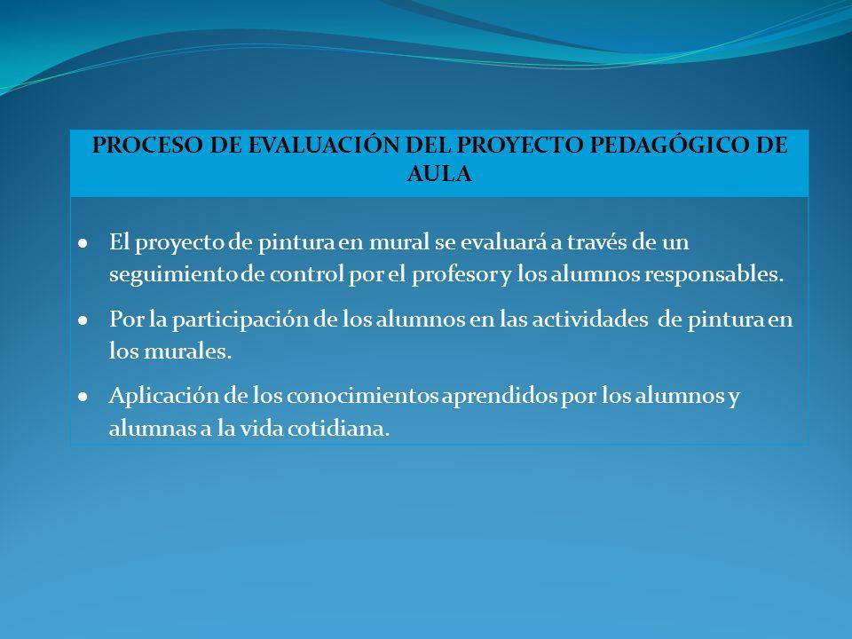 PROCESO DE EVALUACIÓN DEL PROYECTO PEDAGÓGICO DE AULA El proyecto de pintura en mural se evaluará a través de un seguimiento de control por el profesor y los alumnos responsables.